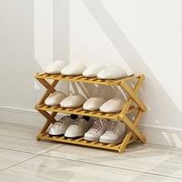 Simple Bamboo Household Small Shoe Cabinet Folding Storage Shelf Bedroom Furniture Shoe Rack Shoe Organizer