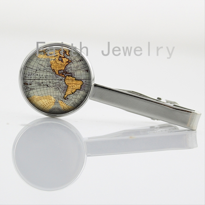 traveller gifts Planet Earth World Map Necktie Bar Clasp Clamp Pin Antique Globe Map tie clips Wanderlust jewelry NS123