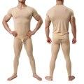 Men's Undershirt Pant Set Ultra-thin Cool Spandex Thermal Sleep Underwear Shirt & Pant Set