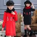 Девушки толстовка Зимние Толстовки sudaderas нино девушки симпатичные вышивка Дети длинные топы нижней отверстия Модные Кофты