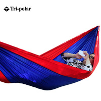 Tri polar Double Camping Hammock New Style Portable Parachute Cloth Family Camping Swing Bed Indoors and Outdoors TP1109