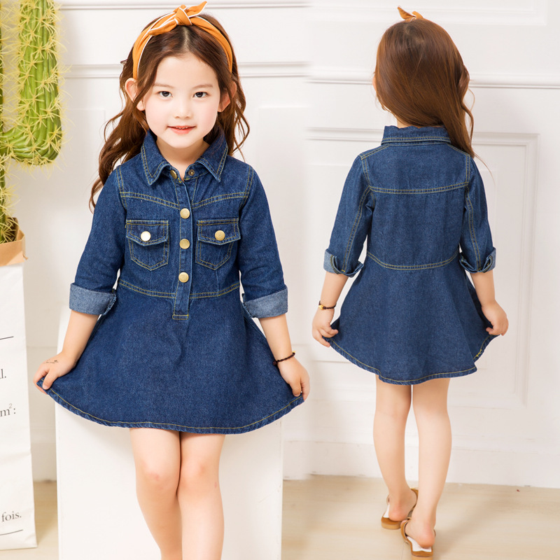 Girls Denim Dress New Spring Autumn Children Long Sleeve Princess Dresses For Girls Clothes Kids Jeans Dress 4 6 8 10 12 Years 2018 autumn winter denim kids clothes embroidery floral jacket jeans 2pcs girls spring teenage girls clothing 6 8 10 12 years