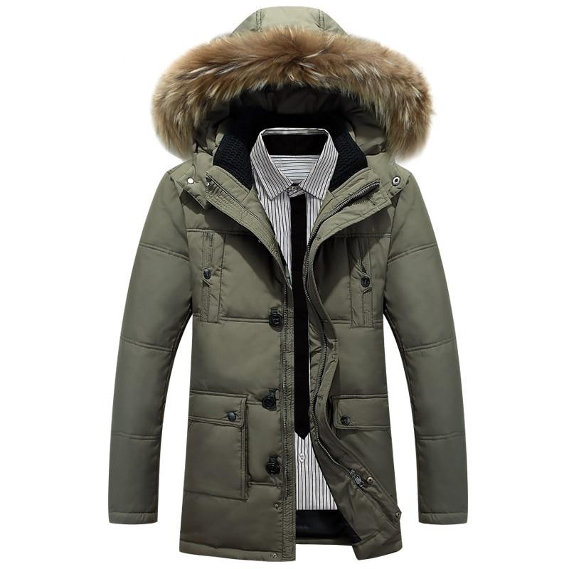 Big Size Winter Jacket Men 90% White Duck Down Jacket Men Hooded Warm Coat Casual Mens Thick Down Overcoat Fur Collar Parka Men