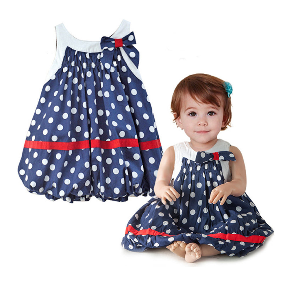 New Summer baby Navy blue and white dots cute baby dress bowknot sleeveless baby girl clothing