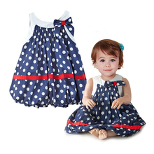 New Summer baby Navy blue and white dots cute baby dress/bowknot sleeveless baby girl clothing