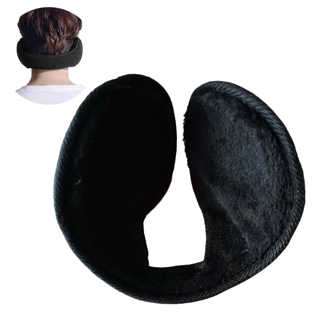 Unisex Earmuffs Black Ear Muffs Fleece Earwarmer Winter Ear warmers Mens Womens Behind the Head Design