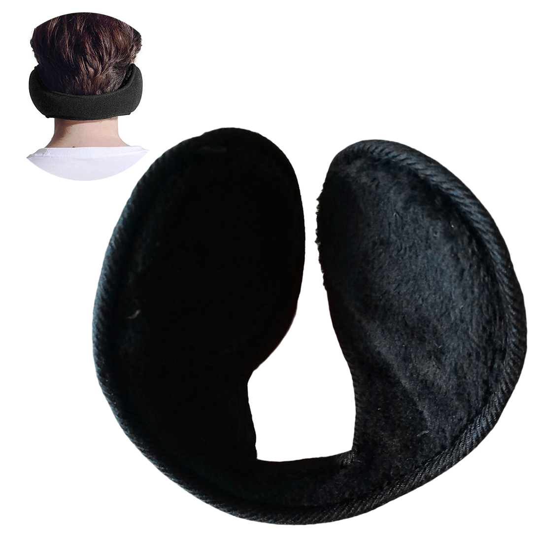 Unisex Earmuffs Black Ear Muffs Fleece Earwarmer Winter Ear Warmers Mens Womens Behind The Head Design