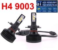 1 Set H4 9003 XHP50 LENS Chips GT Car LED Headlight 90W 9000LM High Brightness EMC Turbo Fan Hi/Low Beam Front Bulbs Lamp 6000K