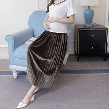 Autumn Winter Style Pregnant Women Skirt High Waist Velour Pleated Skirt Female Maternity dress elegant party Maternity skirts(China)