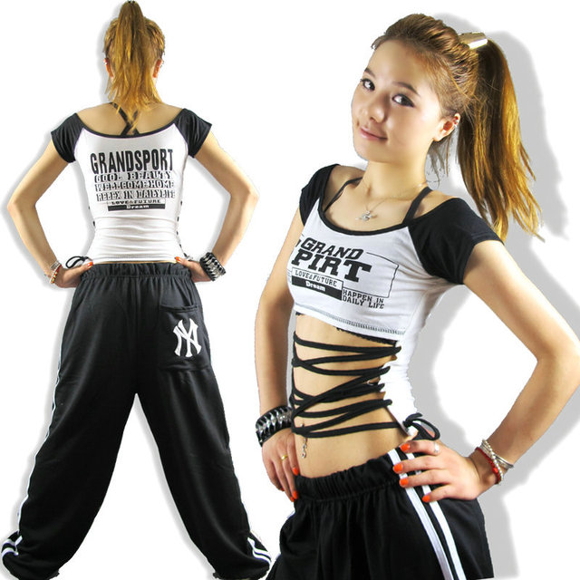 New Fashion hip hop top dance female Jazz costume performance wear  racerback cross straps Sexy lead 85b33165ac4