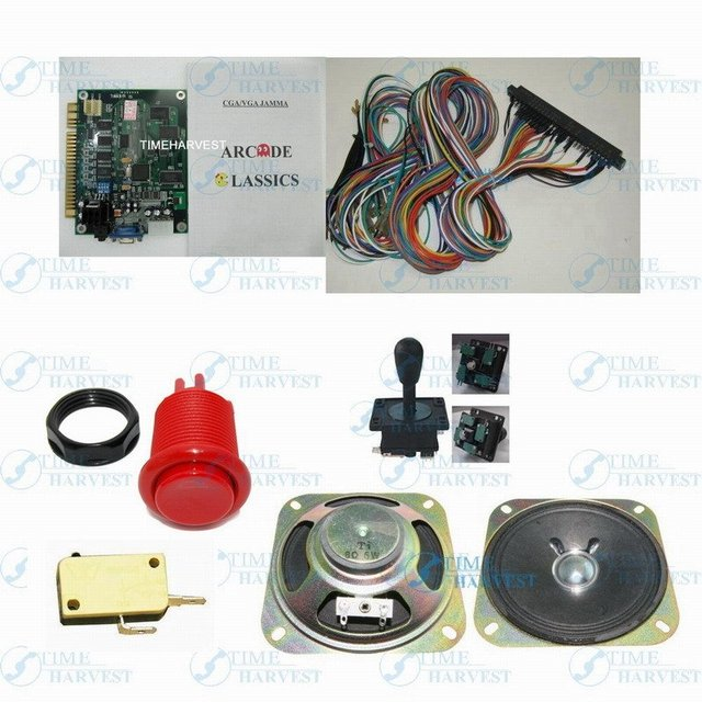 1 set arcade machine parts and PCB include: 1Pcs 60 in 1 classic game board, 1*Harness, 10*red button, 1*joysick, 1*speaker