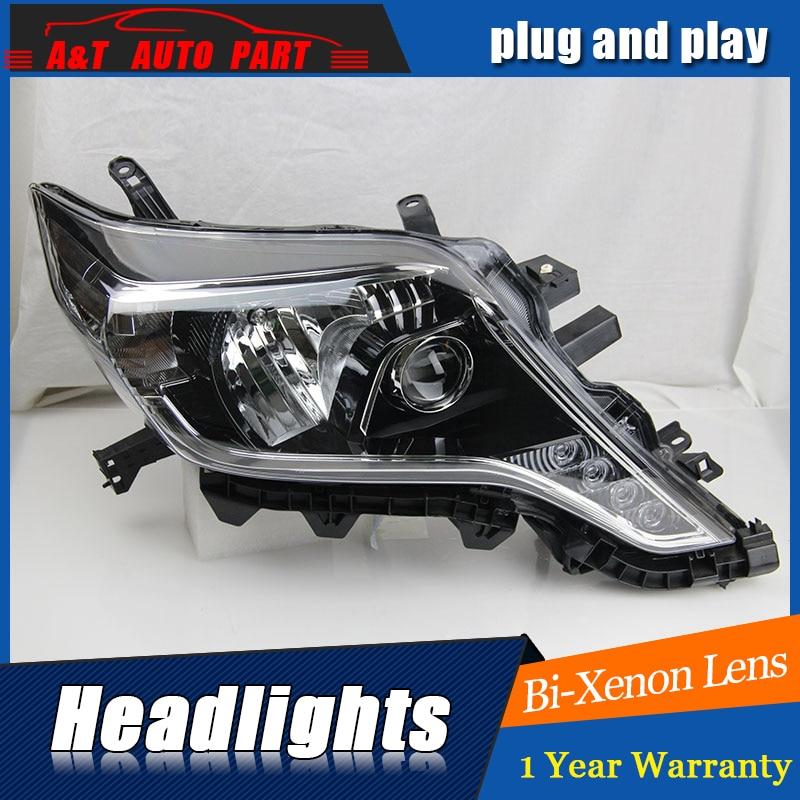 front light 2014-2017 for Toyota Prado headlights Angel Eyes car styling LED light DRL bi xenon lens for prado xenon head lamps 2010 led angel eyes headlights for toyota prado