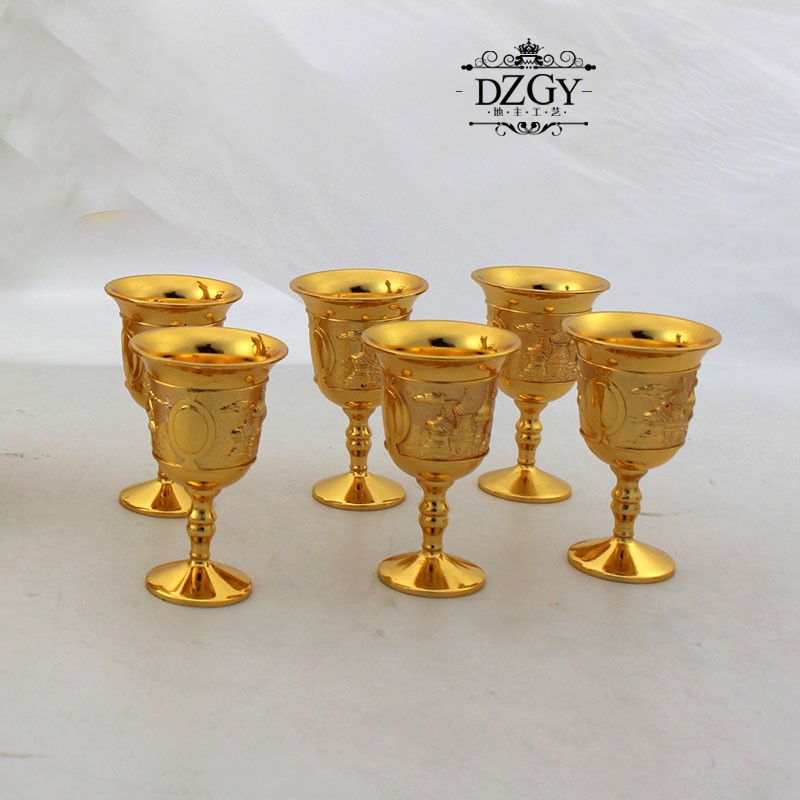 Russian Luxury Sherbet Two Layers Sherbet Set  Gold Goblet Engraving Shot Cup  teaware Gifts Home decor