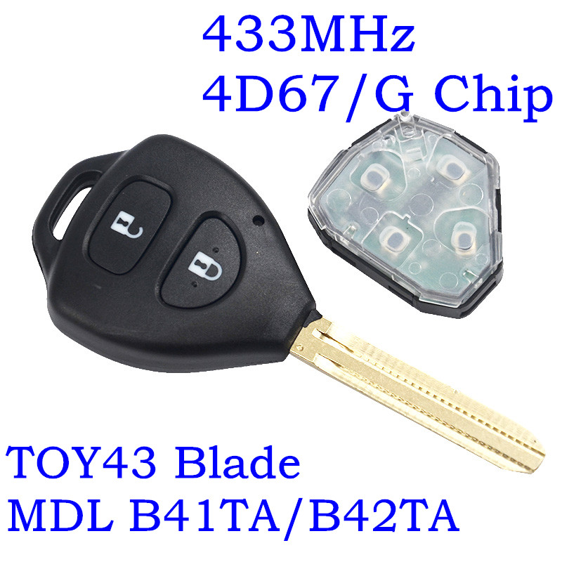RMLKS 2 Button Remote Car Key Fob 433MHz 4D67 Chip For <font><b>Toyota</b></font> Hilux <font><b>2005</b></font> - 2008 Vigo 2006 - 2011 Fortuner <font><b>4Runner</b></font> iQ P/N: B42TA image