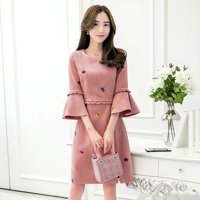 Robe longue daim