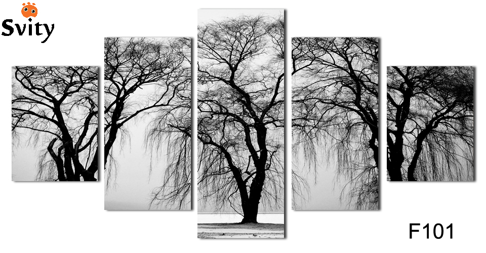5 rectangle, some areas free shipping, home decoration painting, wall stickers, digital picture winter trees (frameless) F101