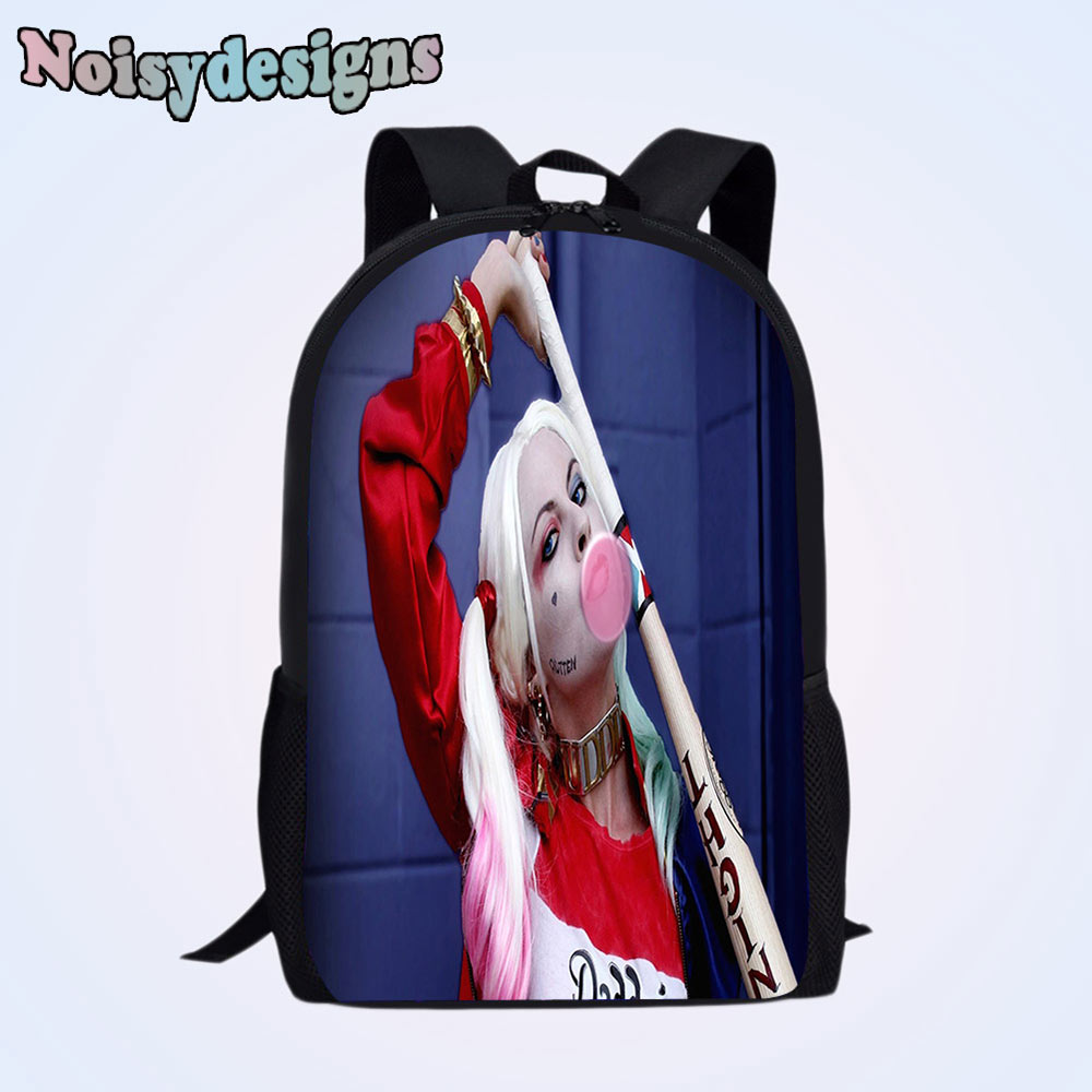 US $29 0 |Harley Quinn In Suicide Squad Pattern Print Backpack for Primary  School bag Teenager Girls Boys Women Schoolbag for Students-in Backpacks
