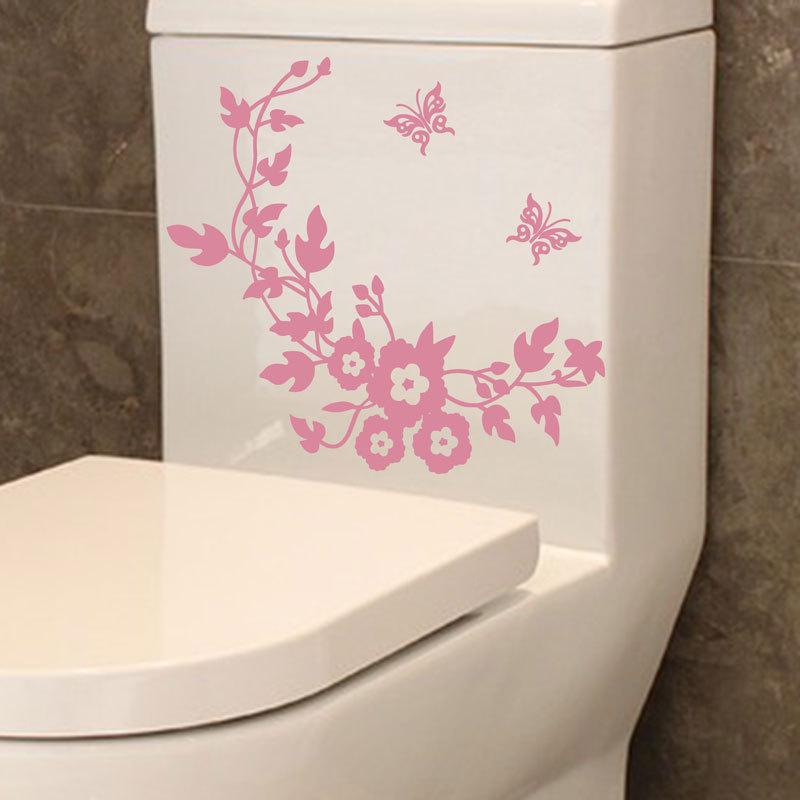 Hot sale creative DIY Flowers and butterflies toilet wall stickers ...