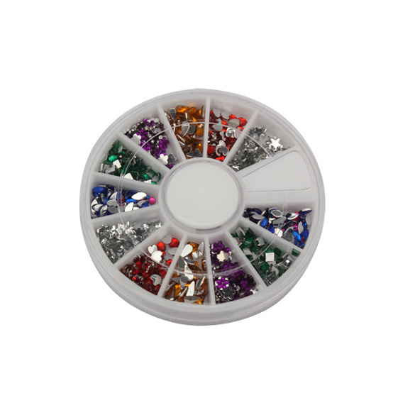 1500pcs Mix Shape Glitter Nail Art Acrylic Wheel Rhinestones Decoration Tips     Sale YF2017 dn2 39 mix 2 3mm solvent resistant neon diamond shape glitter for nail polish acrylic polish and diy supplies1pack 50g