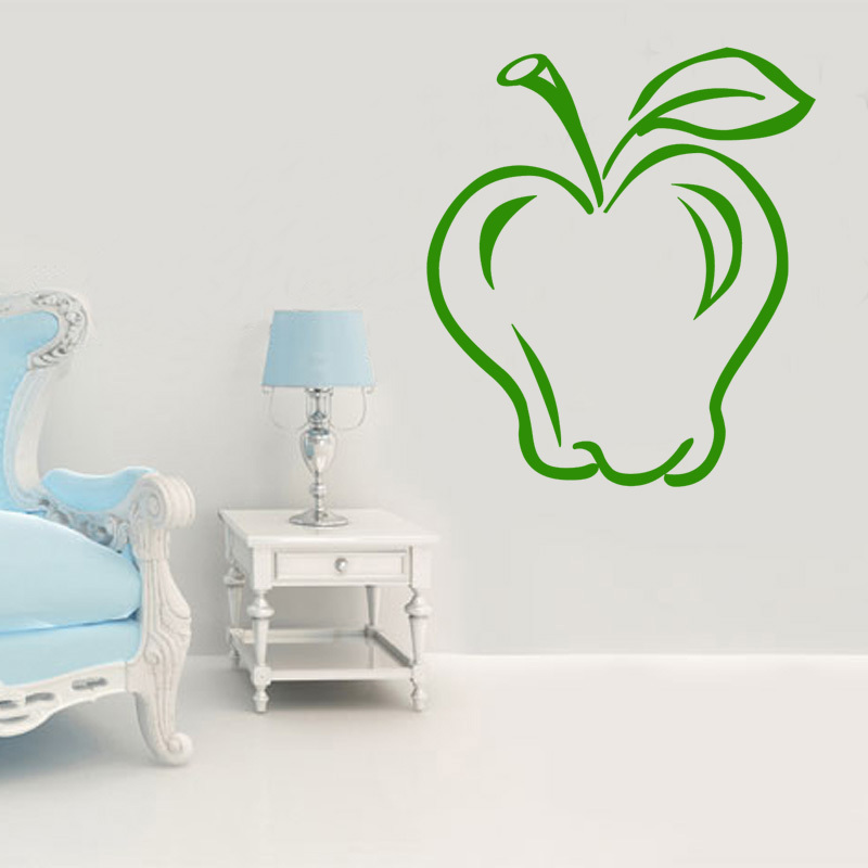 dctop diy vinyl removable fruits apple wall sticker decal living