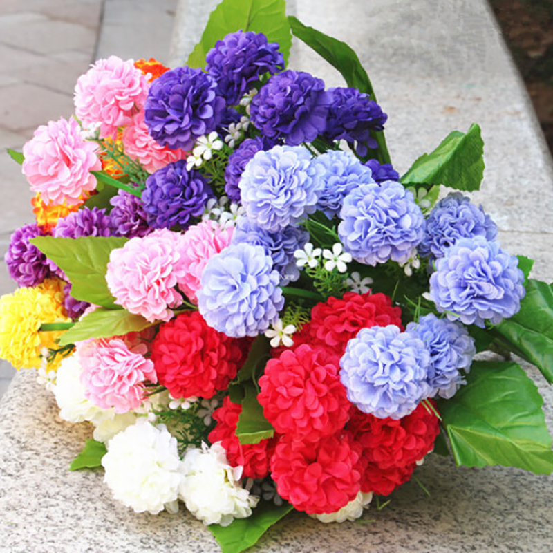 2019 New Multi-colored Beautiful Fragrant Chrysanthemums Plastic, Wire Fake Flowers Home Decoration 8 Hydrangea Artificial