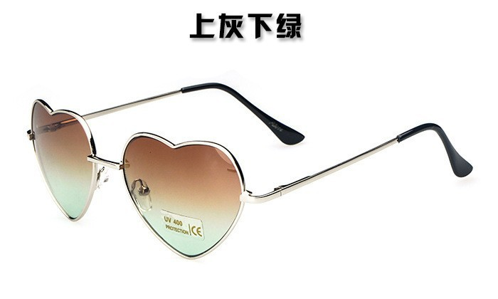 100Pcs/lot Cute Sweet Lovely Heart Shaped Sunglasses Women Vintage Shades Glasses Mirror Gradient Sun glasses