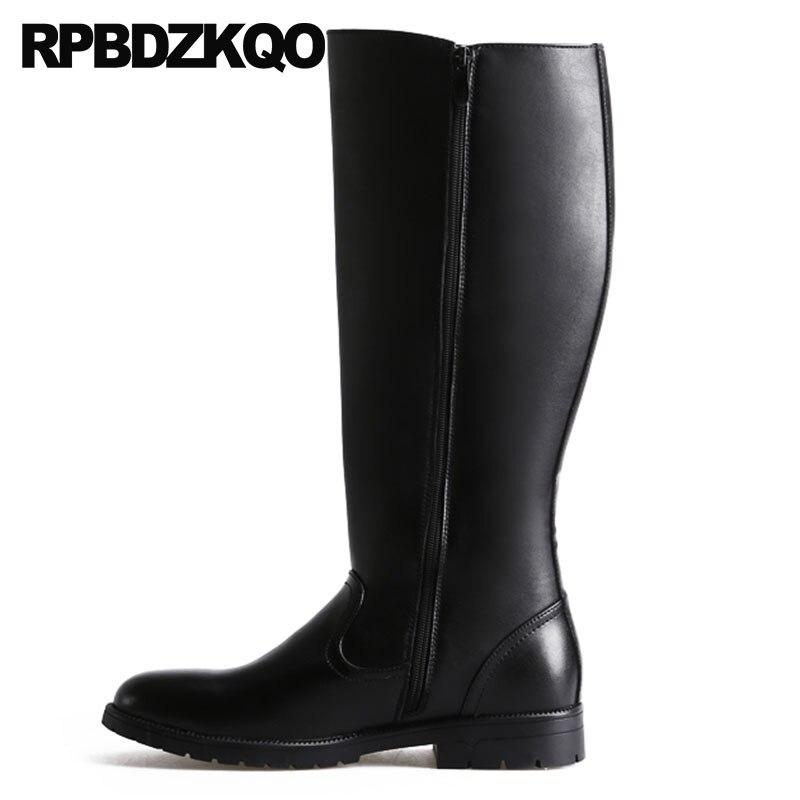 Mi Zipper Piste D'hiver Noir Automne Hommes En Cuir Hautes Bottes D'équitation De Fourrure Chaud Plus La Taille Chaussures Designer Italien Plein grain