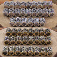 24pcs Norse Viking Runes Charms Beads Findings For Bracelets For Pendant Necklace For Beard Or Hair