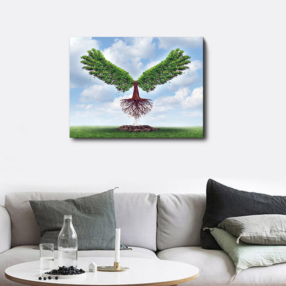 ANGEL WINGS BLUE CANVAS PICTURE PRINT WALL ART HOME DECOR