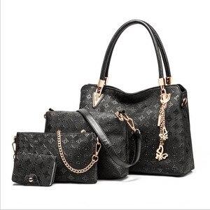 Image 3 - Women Top Handle Bags Female Composite Bags Women Messenger Bags Handbag Set PU Leather Wallets Key Bag Set