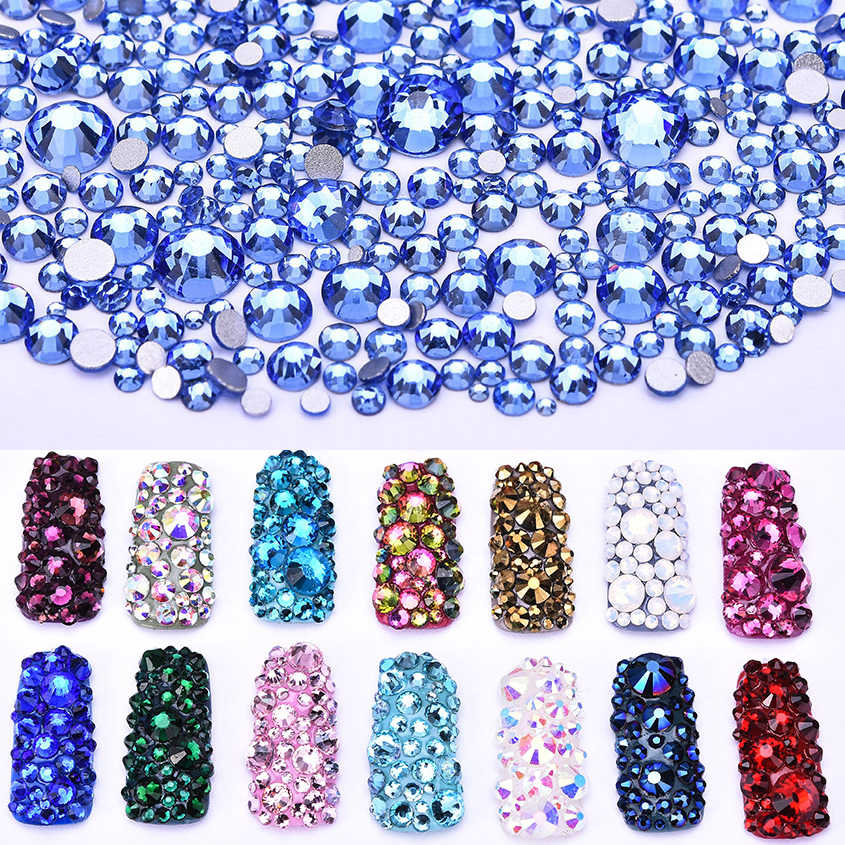 Polairs SMC SS3 - SS30 Mix Size Light Sapphire Flat Back Strass Crystals Stone Non Hotfix Rhinestones For Accessories