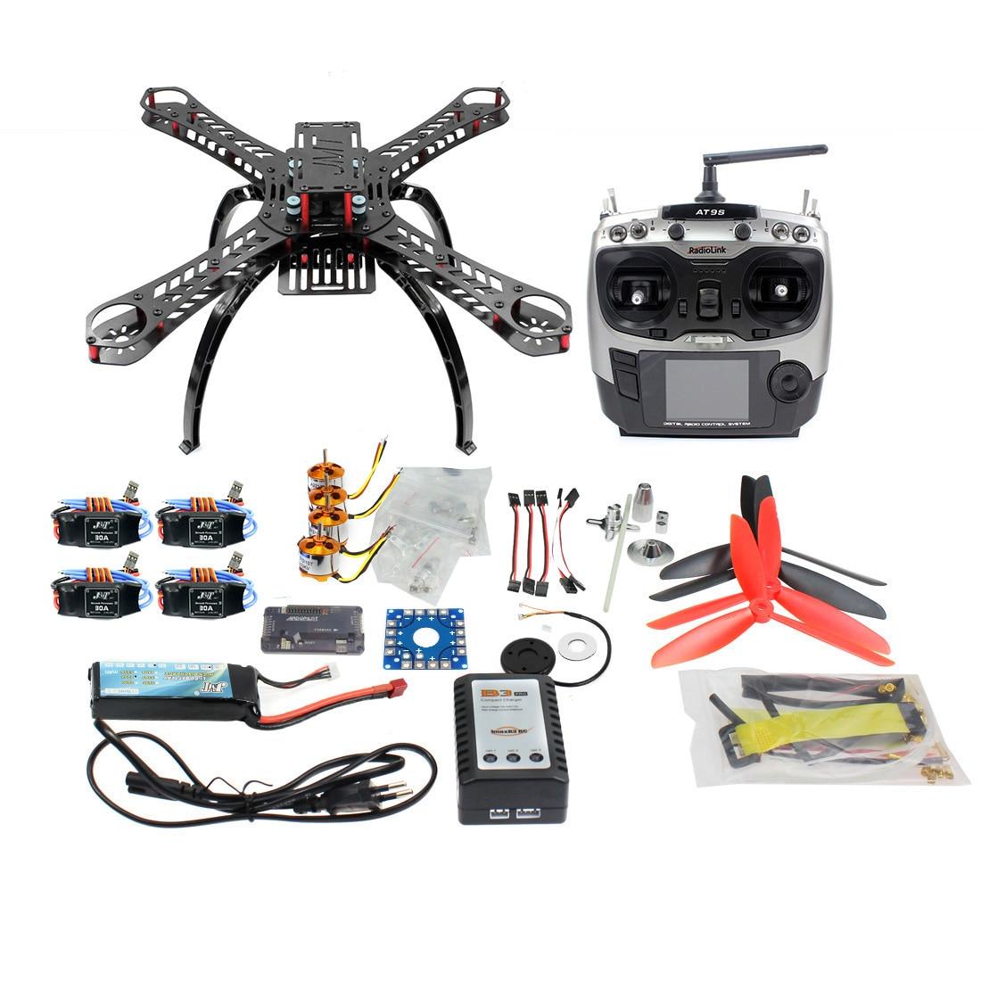 DIY RC Fiberglass Frame Multicopter Full Kit DIY GPS Drone FPV Radiolink AT9 Transmitter APM2.8 1400KV Motor 30A ESC F14891 C