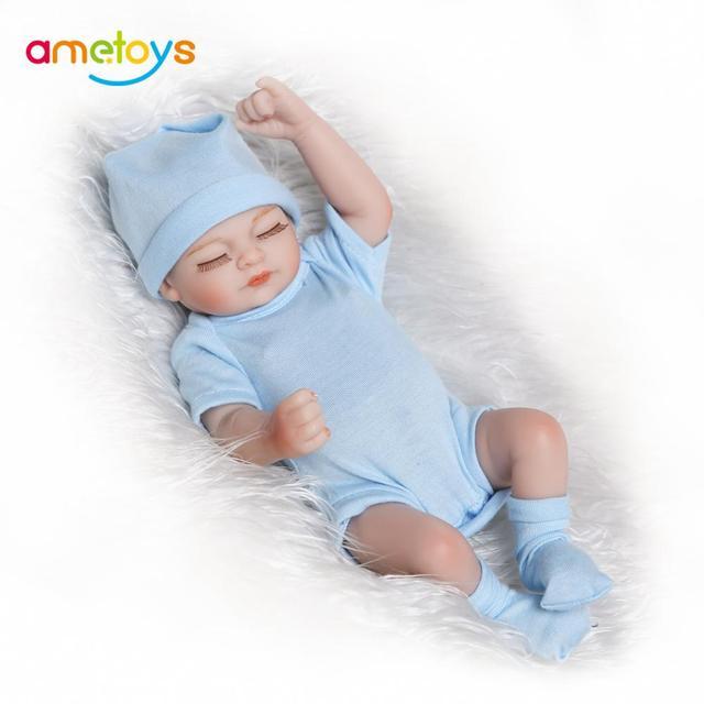 Fashion Reborn Baby Doll Full Silicone Body Eyes Close Sleeping Baby Dolls for Girls 25cm Silicone Bonecas Lifelike Cute Toys