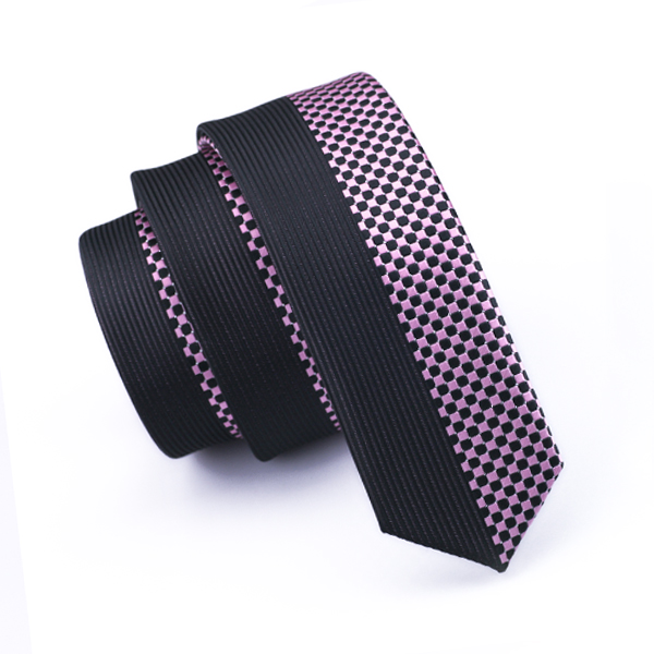 <font><b>BL</b></font>-<font><b>209</b></font> 2016 Men`s Skinny Tie Pink Black Checkerwork 5.5cm Slim NeckTie 100% Silk New Casual Classic For Wedding Party Business image