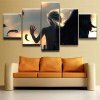 Duvar Sanatı Resimleri Top-Rated Tuval Baskılı Boyama Çerçeve, Modern Yatak Odası Dekoratif 5 Paneller Tek Kanat Melek Poster