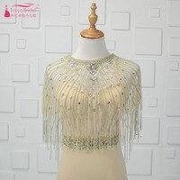 Beading Bling Wedding Bolero Tassel Crystal Formal Dress Jacket Luxury Outstand Bridal Cape Accessories ZJ013