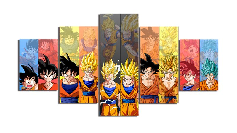 Goku Evolution 5 Piece Canvas Wall Art  1