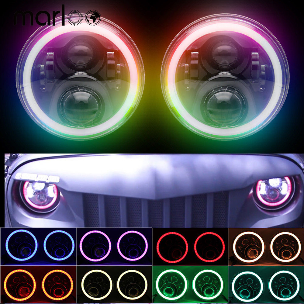 Marloo RGB Halo 7 Inch Led Headlight Plug And Play Led Angel Eyes Headlight Sealed Beam With Bluetooth For Jeep Wrangler CJ JK