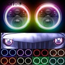 RGB Halo 7 인치 Led 헤드 라이트 플러그 앤 플레이 블루투스 Led 천사 눈 헤드 라이트 봉인 된 빔 지프 랭글러 CJ JK 액세서리