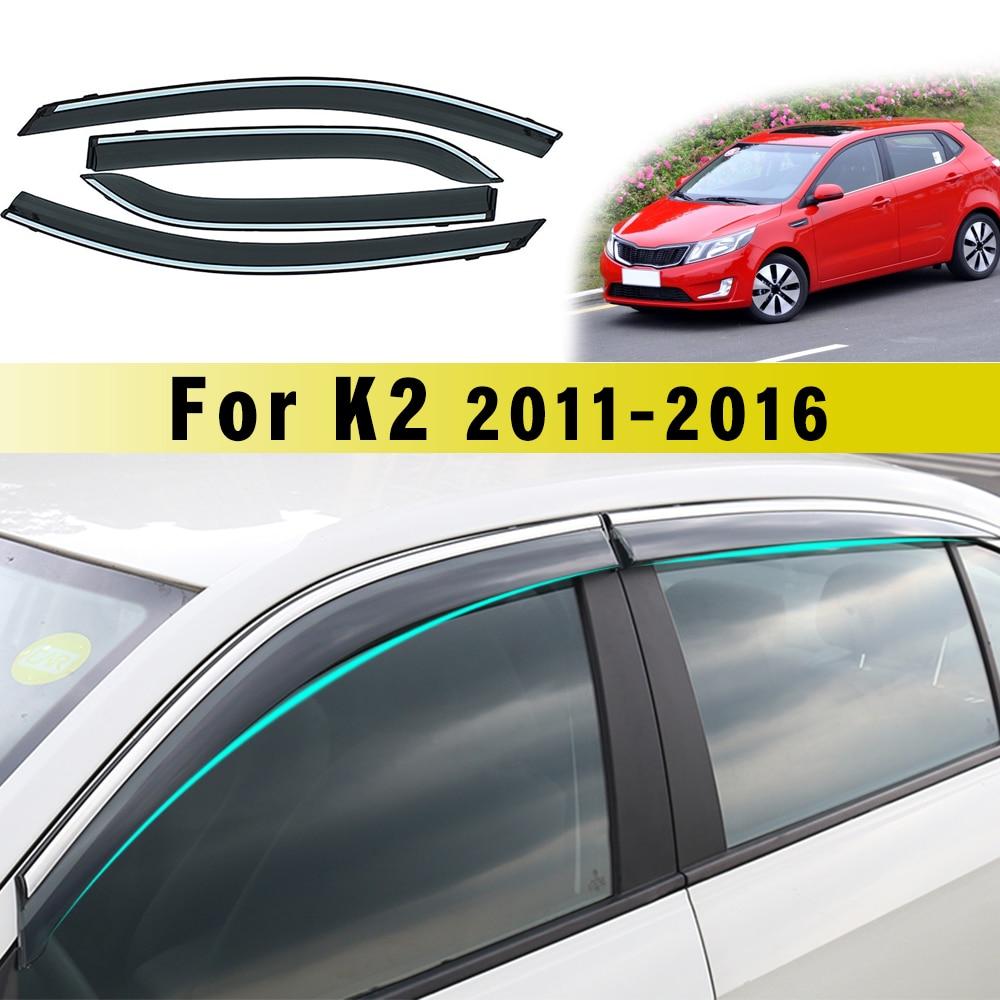 Window Visor For Kia K2 Sedan 2011-2016 Smoke Car Window Visors Car Sun Rain Guard Wind Deflectors Accessories 4Pcs