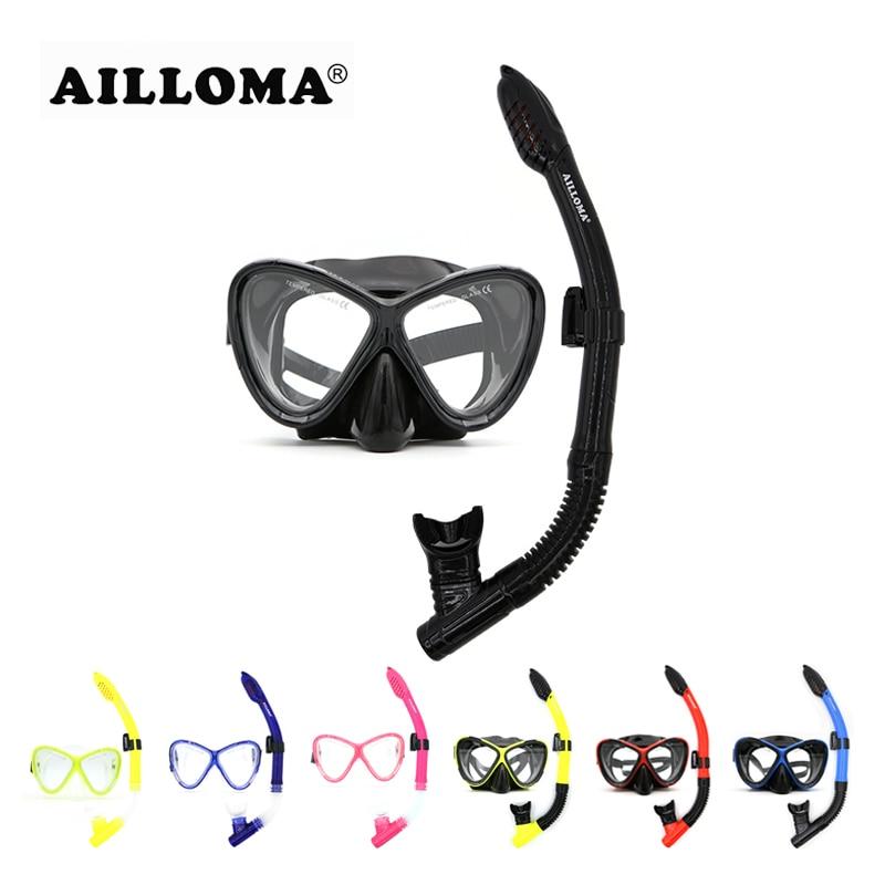 AILLOMA Adult Scuba Underwater Diving Udstyr Hvid Sort Silikone Anti Fog HD Lens Snorkel Mask Og Snorkelsæt
