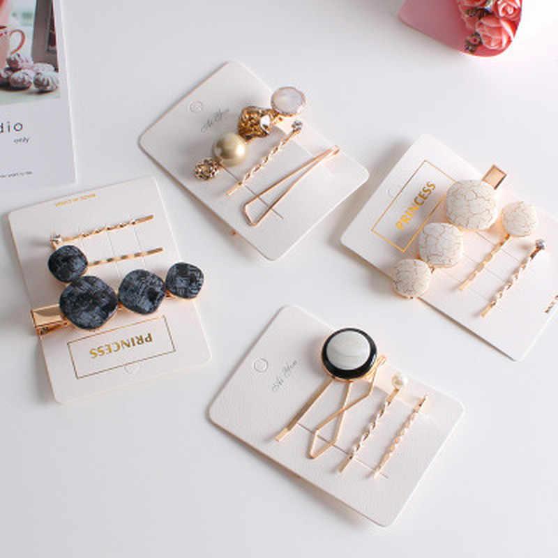 3PCS/Set Vintage Fashion Korean Women Imitiation Pearl Hair Clip Button Hairband Bobby Pin Barrette Hairpin Accessories New