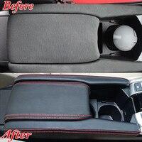 3Pcs/Set PU Leather Car Interior Center Armrest Box Leather Case Cover Trim Moulding For 2016 2017 Honda Civic