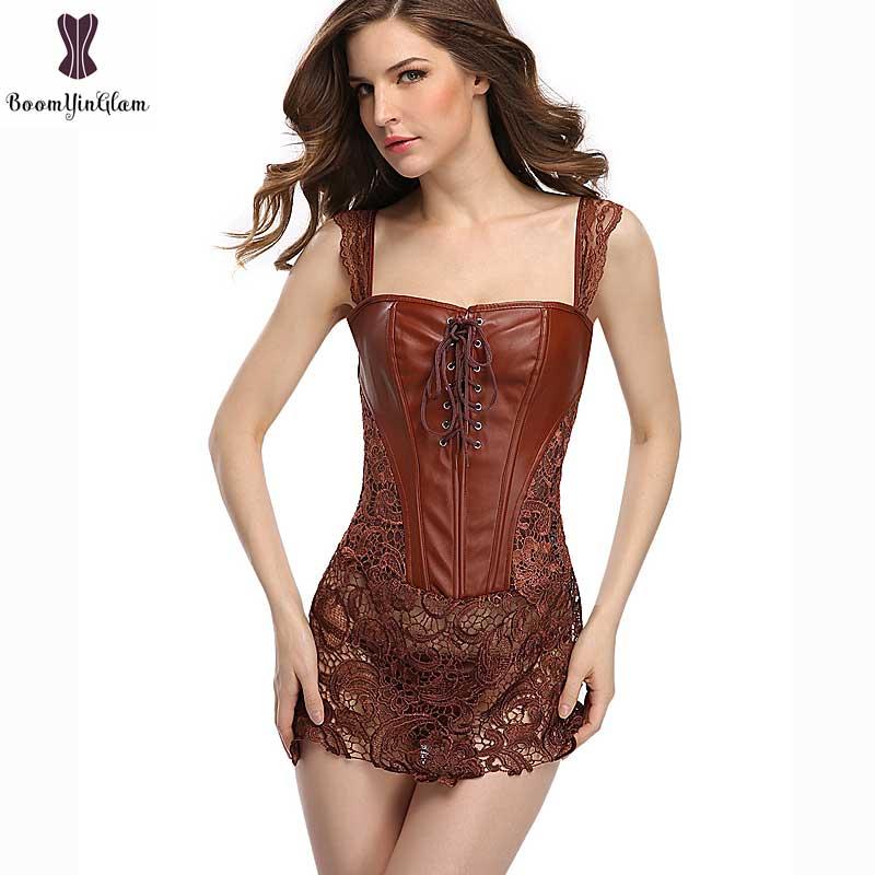 Corset Dress With Laciness Skirt Plus Size 6XL Steampunk Bustier Black Red Brown Corselet Faux Leather Outwear Dress Bone Korset 1