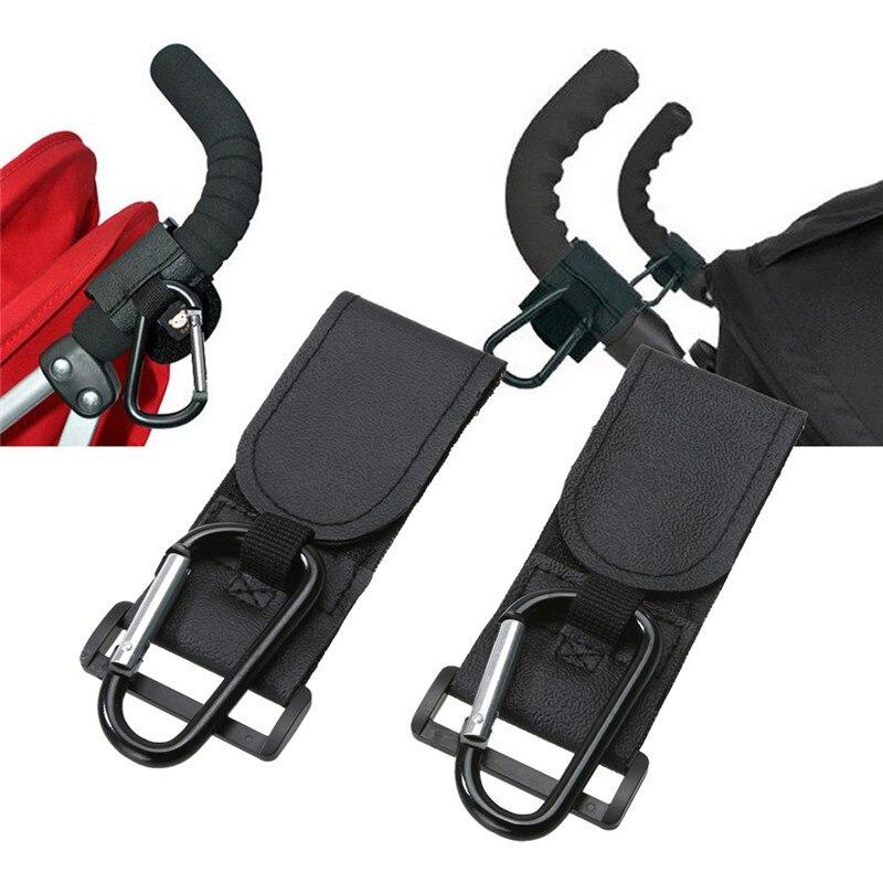 Baby Stroller Hooks Kids Pushchair Pram Hanger Carabiner Shopping Bag Clip Rotatable Hook Baby Buggy Hanging Carrier Holder