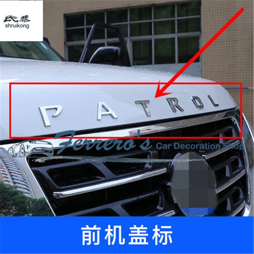 1 set autocollant de voiture ABS Chrome avant capot de voiture lettre de couverture de moteur pour Nissan Armada patrouille Royale Nismo Y62 2016-2018