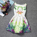 Spring Green plants and florals patterns dresses sleeveless O-neck girls dress A-line knee-Length girls clothes