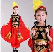 Girls, ethnic minorities new children, Uygur dance costumes, children's Xinjiang performances