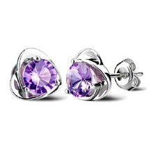 цена 100% 925 sterling silver romantic purple crystal love heart ladies`stud earrings jewelry women Anti allergy drop shipping cheap в интернет-магазинах