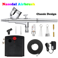 Nasedal Dual Action Airbrush Compressor Kit Air Brush Paint Gun Cleaning Tool Makeup Nail Paint Spray Gun Tattoo Body Car Paint